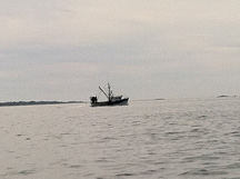 a fishing boat coming in after a long day at sea