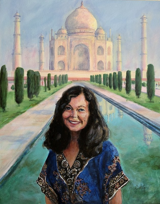 Sarah by the Taj Mahal | Heidi Ludwig | Acrylic | SOLD