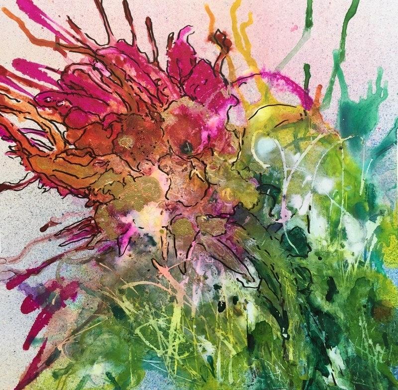 Burst Out | Heidi Ludwig | Alcohol inks on Yupo | 12 x 12 | 150.00