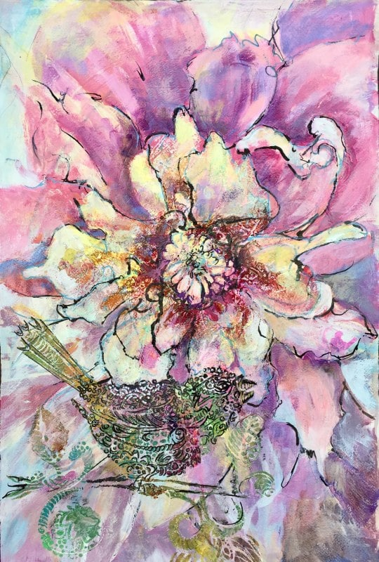 Peonies Stylized | Heidi Ludwig | Acrylic and mixed media | 18 x 24 | 500.00
