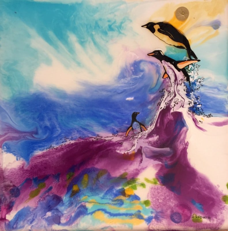 Playing in The Waves   Heidi Ludwig   Resin and paint   16 x 16   400.00