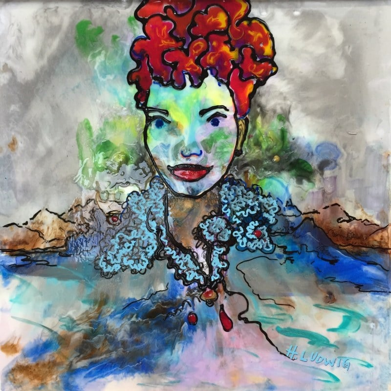 Remembering The Red Haired Lady | Heidi Ludwig | Resin and paint | 16 x 16 | 400.00