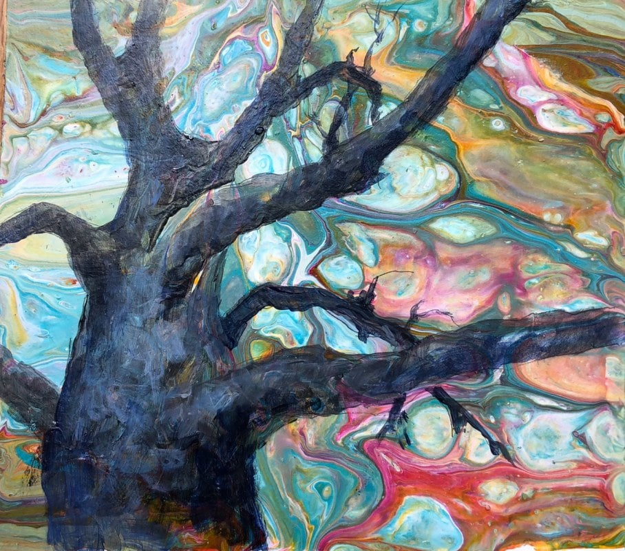 Up the Mighty Tree   Heidi Ludwig   Acrylic on paper   8 x 8   100.00