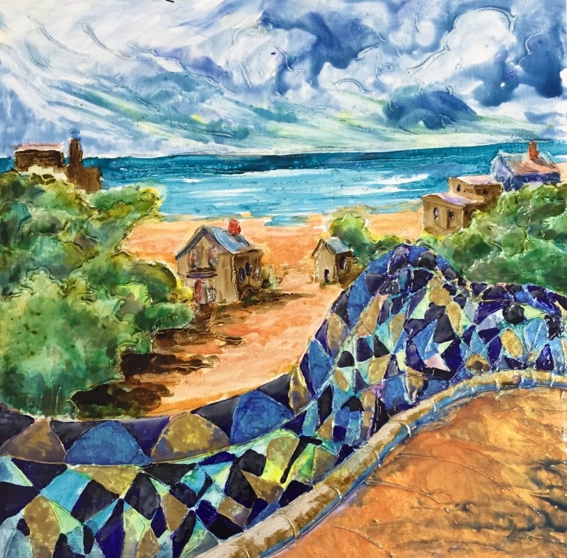 Vacation Village   Heidi Ludwig   Enamel Paint   12 x 12   175.00