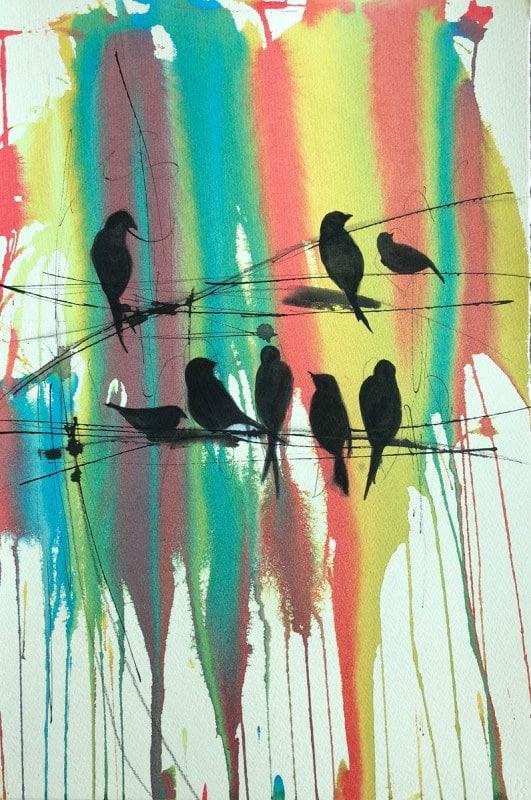Visiting at Sunset   Heidi Ludwig   Watercolor and Ink   16 x 20   350.00